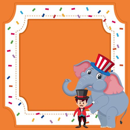Frame template design with circus trainer and elephant illustration