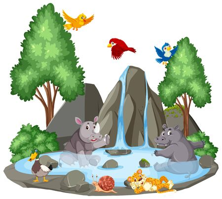 Background scene of wild animals by the waterfall illustration