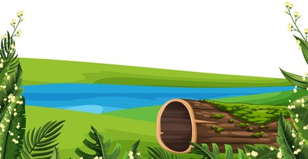 Landscape background with lake and green grass illustration