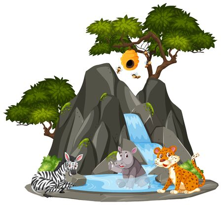 Background scene of animals by the waterfall illustration Ilustrace