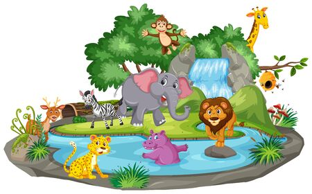 Background scene of many animals at the waterfall illustration