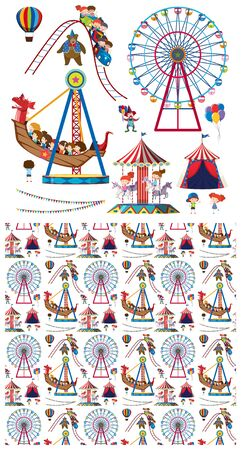 Seamless background design with children and circus rides illustration Illustration