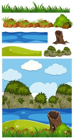 Nature landscape of park with river and hills illustration