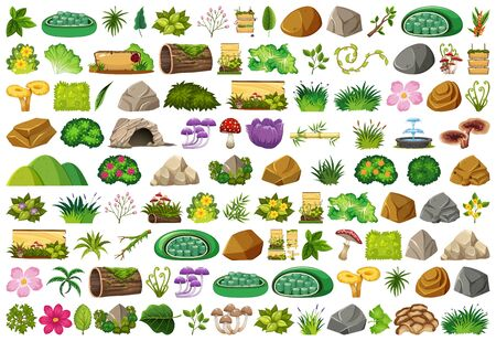 Set of isolated objects theme - gardening illustration