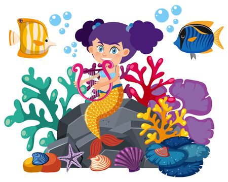 Single character of mermaid and fish on white background illustration 일러스트