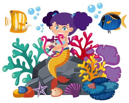 Single character of mermaid and fish on white background illustration Illustration