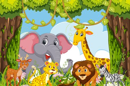 Cute animals in jungle scene illustration