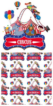 Seamless background design with animals at the circus illustration Illustration