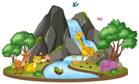 Background scene of wild animals and waterfall illustration