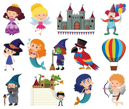 Set of fairytale characters on white background illustration Stock Illustratie
