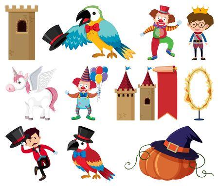Set of circus animals and people illustration Illusztráció
