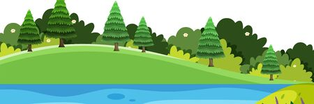 Scenery background of small hills and river illustration