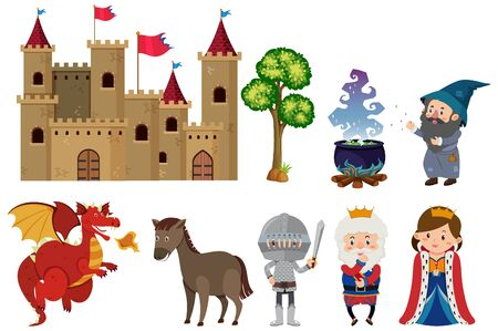 Set of isolated fairytale characters on white background illustration