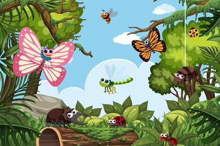 Insects in jungle scene illustration