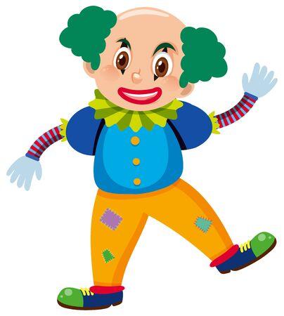 Single character of clown on white background illustration Reklamní fotografie - 133797234