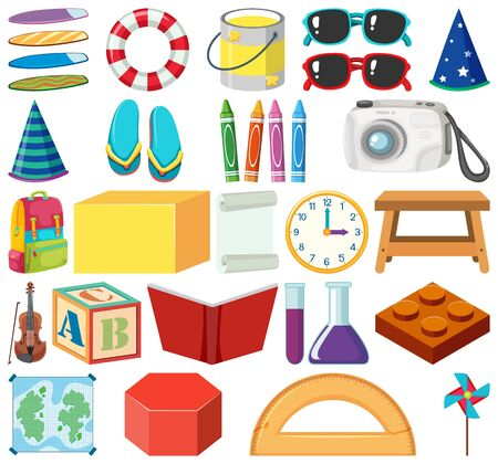 Set of isolated objects theme stationery illustration Ilustrace