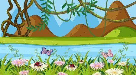 Landscape background design with flower garden and river illustration