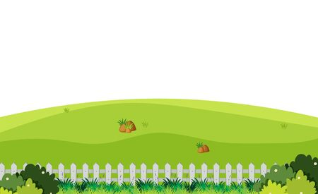 Scenery background of green field with white fence illustration  イラスト・ベクター素材