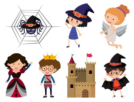 Set of isolated objects theme halloween illustration