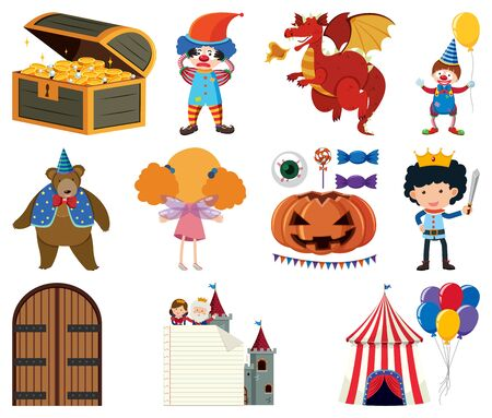 Set of circus and fairytale characters illustration