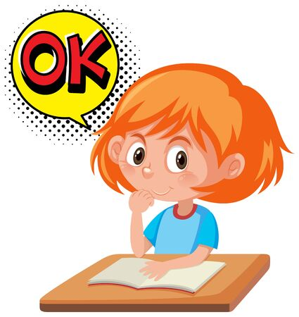 Girl reading book with word expression OK illustration