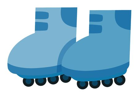 Isolated pair of rollerskates in blue color illustration Illustration