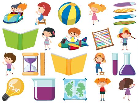 Set of isolated objects theme children and school items illustration Ilustracja