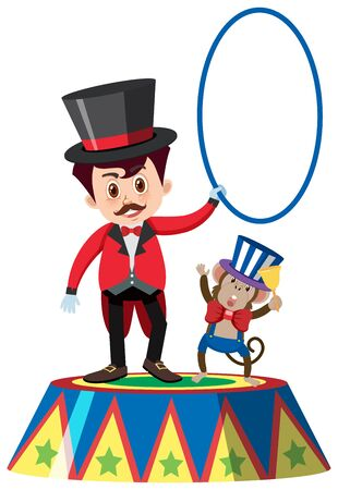 Single character of on circus master and monkey white background illustration