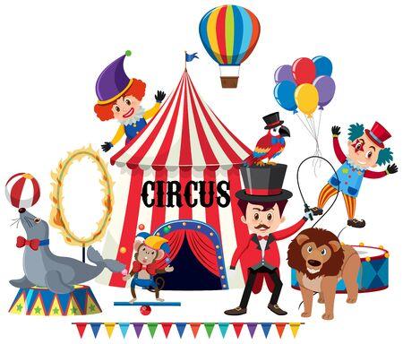Circus animals and clowns illustration