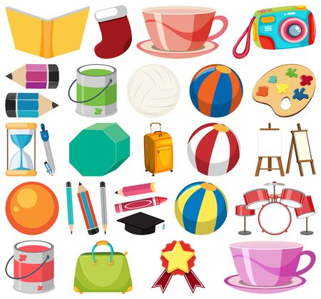 Set of isolated objects theme stationeries illustration
