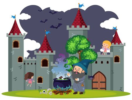 Background scene of wizard at the castle illustration Çizim