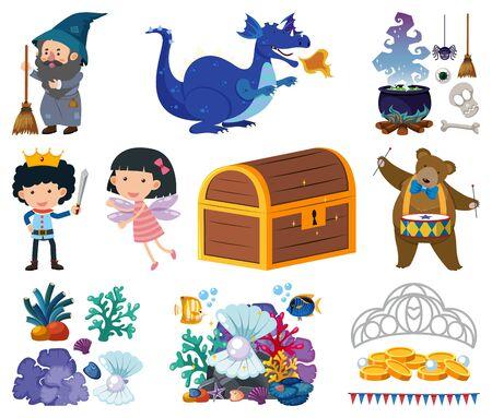 Set of fairytale characters on white background illustration Illusztráció