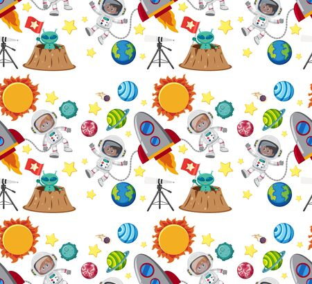 Seamless background design with astronaut and planets illustration