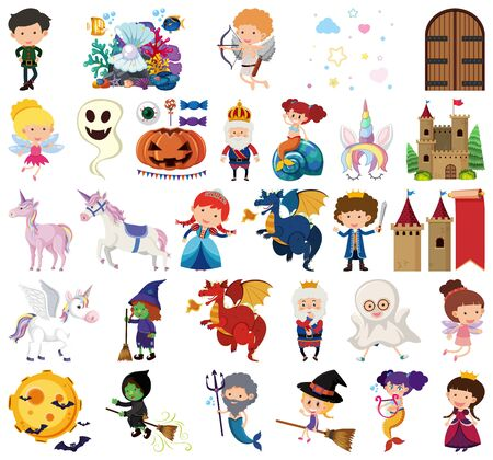 Set of isolated objects theme fairytale illustration Çizim