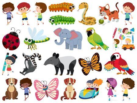 Set of isolated objects theme children and animals illustration Illusztráció