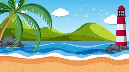 Escena de la naturaleza con faro junto a la orilla ilustración