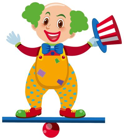 Single character of clown on white background illustration