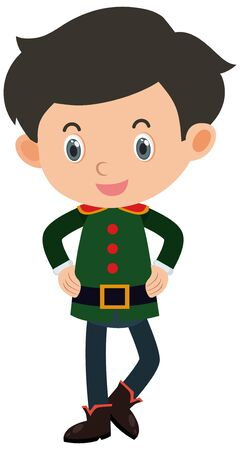 Single character of boy in green costume on white background illustration