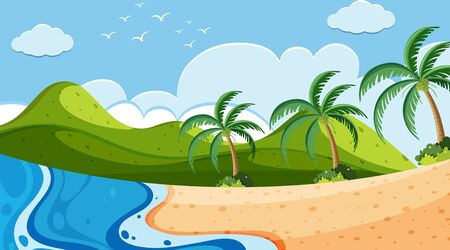 Nature scene with ocean and trees on the hills illustration
