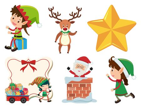 Christmas set with Santa and elf illustration