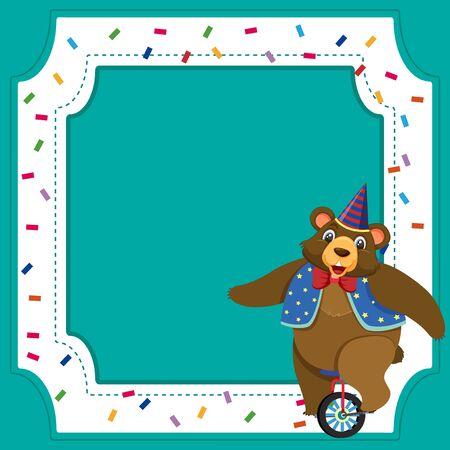 Frame template design with circus bear illustration Ilustração
