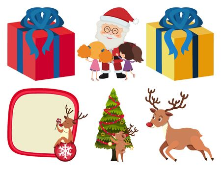 Christmas set with many present boxes illustration