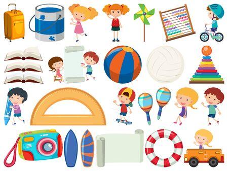 Set of isolated objects theme stationery illustration Ilustracja