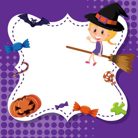Frame template design with girl in halloween costume illustration