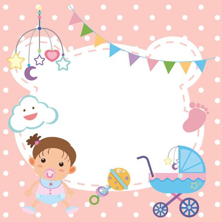 Frame template design with baby girl illustration