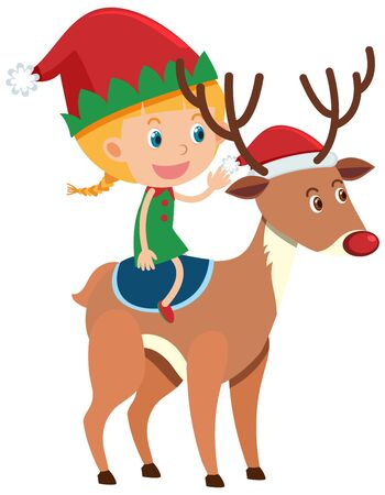 Single character of girl riding reindeer on white background illustration