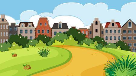 Nature scene with city buildings and park illustration