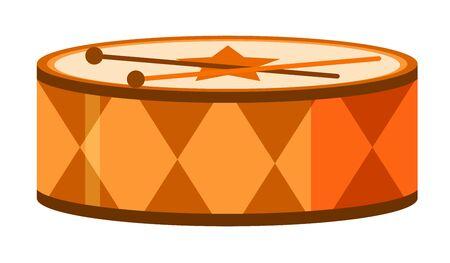 Isolated drum in orange color illustration Ilustração