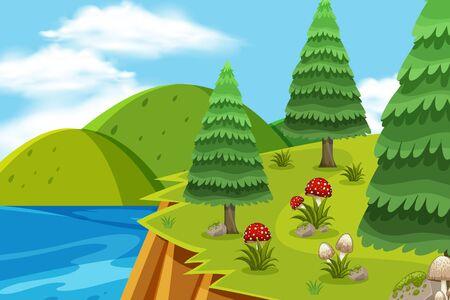 Landscape background design with trees on mountain illustration Ilustração