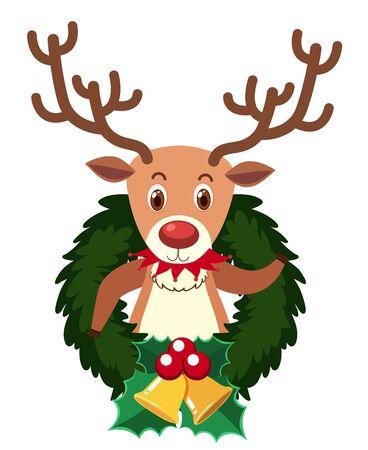 Reindeer on round ornament with mistletoes illustration Ilustração